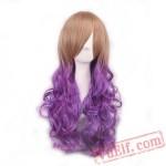 Peach & Purple Long Curly Wigs for Women