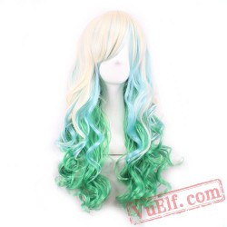 Gold & Green Cosplay Wigs for Women