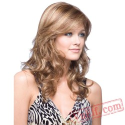 Gold Long Curly Puffy Wigs for Women
