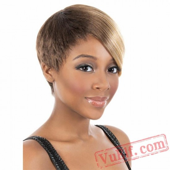 Brown & Gold Short Puffy Wigs for Women