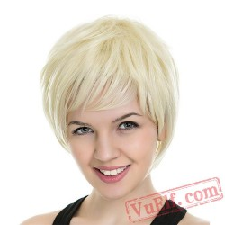 Gold Short Straight Wigs for Women