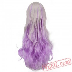 Long Curly Sliver & Purple Cosplay Wigs for Women