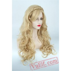 Long Curly Gold Cosplay Wigs for Women