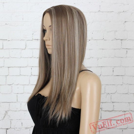 Long Straight Yellow & White Wigs for Women