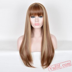 Gold Long Straight Cosplay Wigs for Women