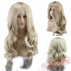Gold Long Curly Cosplay Wigs for Women