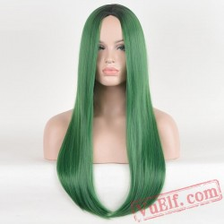Green Long Straight Wigs for Women