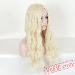 Long Gold Curly Wigs for Women