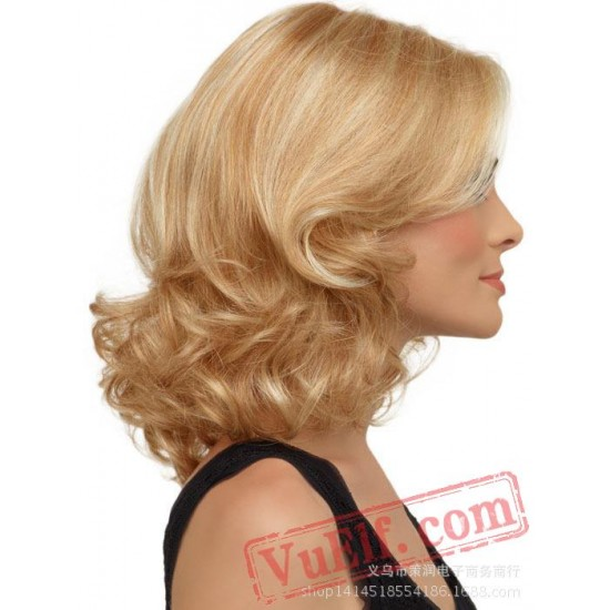 Gold Short Cosplay Wigs for Women