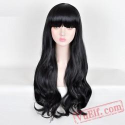 Fashion Long Curly Black Wigs for Women