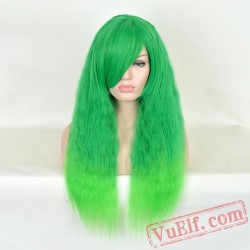 Green Long Curly Wigs for Women