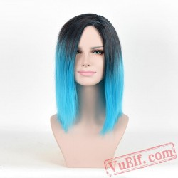 Blue & Black Long Straight Wigs for Women