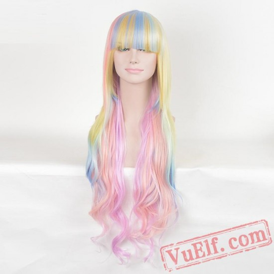 Long Curly Colored Wigs for Women