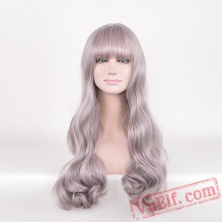 Grey Long Curly Wigs for Women