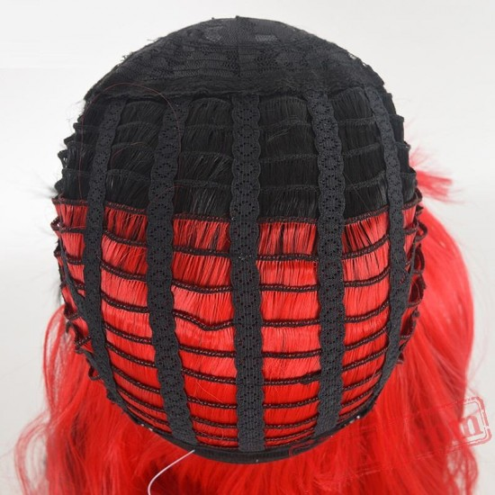 Black & Red Long Straight  Wigs for Women