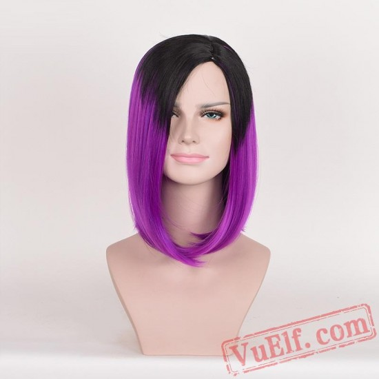 Black & Purple Mid-length Straight Wigs for Women