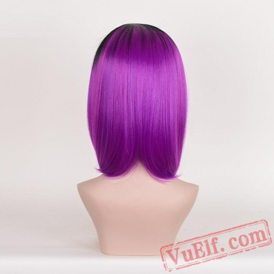Black & Purple Mid-length Straight Wigs for Women