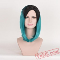 Black & Green Mid-length Wigs for Women