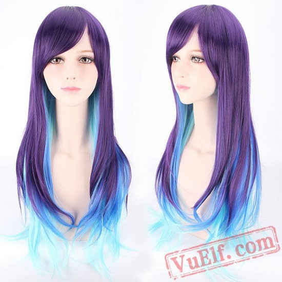 Purple & Blue Long Curly Lolita Wigs for Women