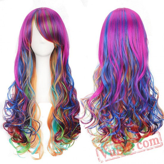 Long Curly Colored Lolita Wigs for Women