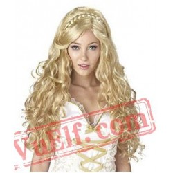 Curly Long Gold Wigs for Women