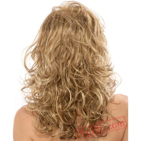Gold Long Curly Wigs for Women