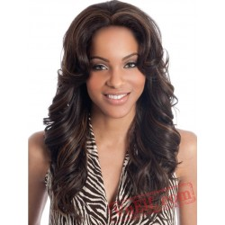 Black Women Brown Long Curly Wigs