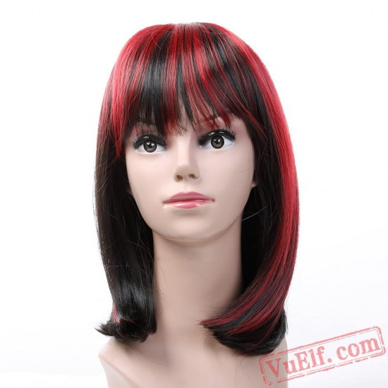 Black & Red Short Wigs for Women