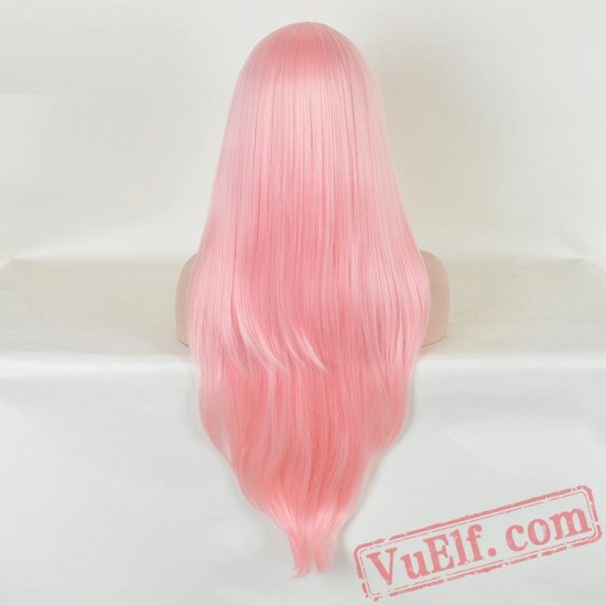 Pink Long Curly Cosplay Wigs for Women