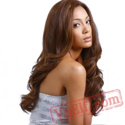 Fashion Gold & Brown Long Curly Wigs for Women