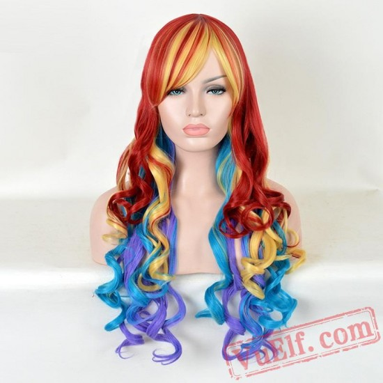 Colored Long Curly Cosplay Wigs for Women