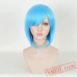 Blue Short Straight Cosplay Wigs for Women