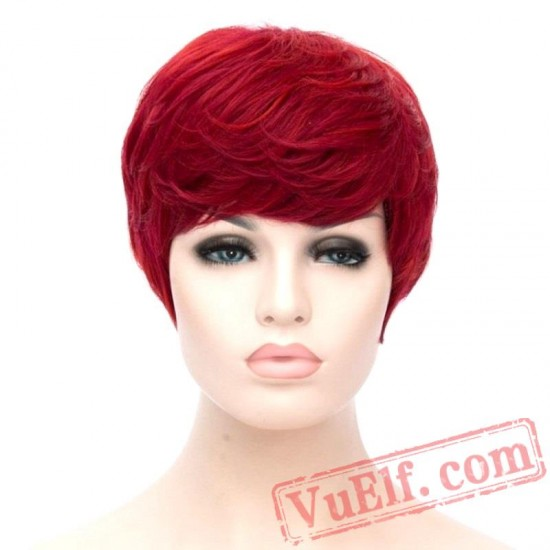Hair Short Curly Wig Red Women Wigs