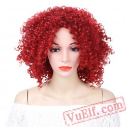 Short Red Afro Kinky Curly Wigs Women Hair Wigs