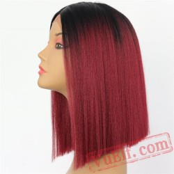 Black Red Short Bob Light Yaki Hair Lace Front Party Wigs