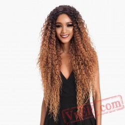 Lace Front Blonde Wig Long Wavy african american Wigs