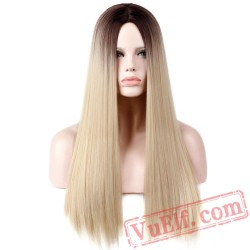Blonde Long Straight Hair Wigs Women