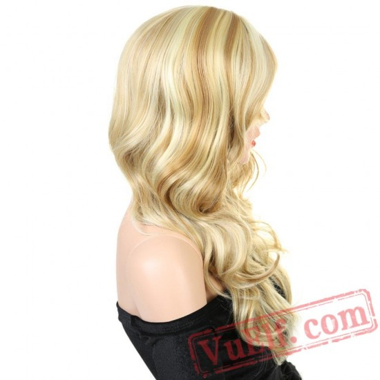 Long Wavy Curly Blonde Wigs Women Curly Cosplay Wigs