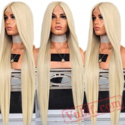 Blonde Silky Straight Hair Lace Front Wig Women