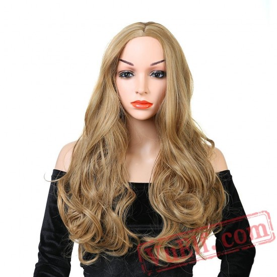 Women's Long Curly Wavy Blond Wig