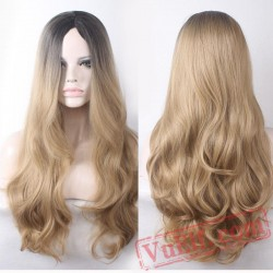 black roots blonde wig long curly hair wigs women