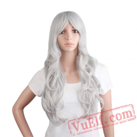 Beauty Long Curly cosplay Wigs White Hair Women