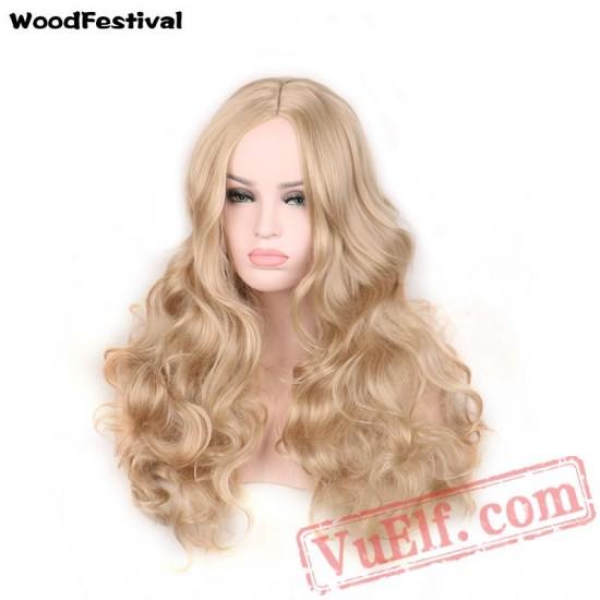 womens wavy wigs hair long blonde wig