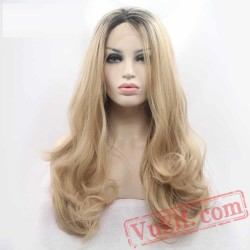 Blonde Dark Roots Lace Front Blonde Wig Long Wavy Wigs Women