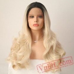 Blonde Hair Lace Front Wig Black Roots Long Wave Wigs Women