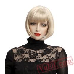 Blonde Wig Bangs Natural Hair Straight Short Bob Wigs Women