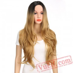 Blonde Wig Long Kinky Curly Wig Women Hair