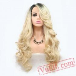 Blonde Two Tone Long Hair Lace Front Wigs Women Girls Wavy Wig