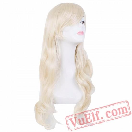 Blonde Wig Oblique Bangs Long Wavy Hair
