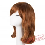 Yellow Blonde Wig Medium Wavy Hair Women